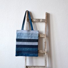 stripey tote bag lined recycled fabrics shopping bag denim stripy upcycled one of a kind ooak