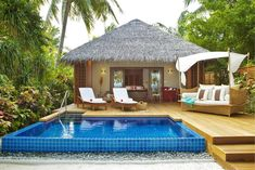 Tips & trick, Small Home Design With Swimming Pool Wooden Floor And Outdoor Sundeck And Gazebo: Summer vacation in best luxury resort baros maldives resort Maldives Luxury Resorts, Maldives Resort, Maldives Villas, Maldives Honeymoon, Tropical House Design, Tropical Houses, Bungalow Resorts, Hut House, Bahay Kubo