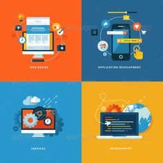 Illustration about Set of flat design concept icons for web and mobile services and apps. Icons for web design, application development, seo and web development. Illustration of interface, mobile, mockup - 38342961 Web Design, Design Plat, Flat Design, Icon Design, Graphic Design, Vector Design, Mobile App Development Companies, Application Development, Software Development
