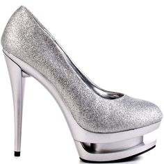 Dazzle the room and see your name in lights with the Nikki.  This Just Fabulous sandal showcases a gleaming silver glitter upper with a round closed toe.  Metallic matte envelopes the 1 1/2 inch triple stacked platform and 5 inch heel to deliver diva worthy style.