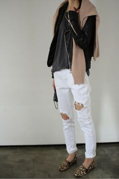 White distressed loose denim, leopard print loafers leather jacket