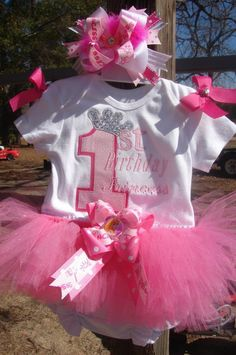 Girls Girl 1st Birthday Princess Onesie or tshirt light and hot pink. $24.00, via Etsy.