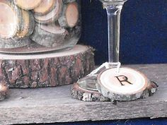 Custom Letter rustic wood slice charms, Wine Glass Charms  Rustic Wedding Decoration by OzarkCraftWood on Etsy