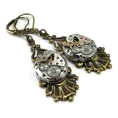 Steampunk Earrings - Clockwork - Edwardian Setting - Brass by Compass Rose Design JULY 4TH SALE! Save 25% through Monday on our handmade vintage designs for ladies and men! Almost 100 new items in the shop to choose from!!!! http://www.compassrosedesignjewelry.com/ sale code: FIREWORKS