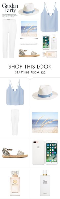 """Soft blue"" by nadialesa ❤ liked on Polyvore featuring MANGO, Melissa Odabash, Roland Mouret, WALL, Charlotte Olympia, Tory Burch, Hermès, Blue, soft and hat"