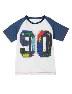Pure Cotton Raglan Sleeve 90 Print T-Shirt (1-7 Years)