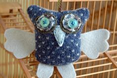 Upcycled Sweater Owl Ornament, Blue Gray, Holiday Decoration. Handmade ...