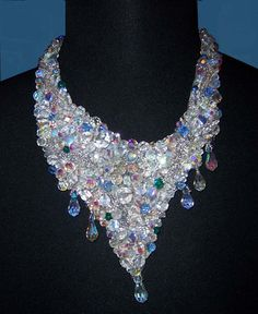 Swarovski Crystal Embroidered Necklace with Matching Clip