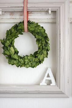 Wreath, old window...change out wreath depending on season