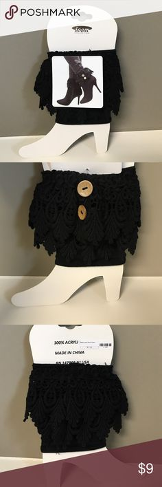 Black Lace Boot Cover Black, One Size, Fits With Most Boots, New With Tags Icon Collection Accessories