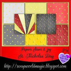 Digital Scrapbooking Freebies, St Nicholas Day, Paper Stars, Kit