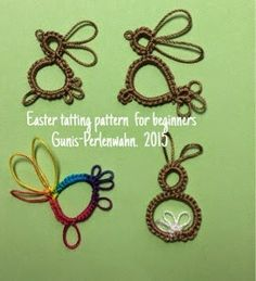 Perlenwahn - Gunis Blog: Easter tatting pattern for beginners - 3 rabbits and a colorful rooster - Free pattern #tatting #bird #rabbit