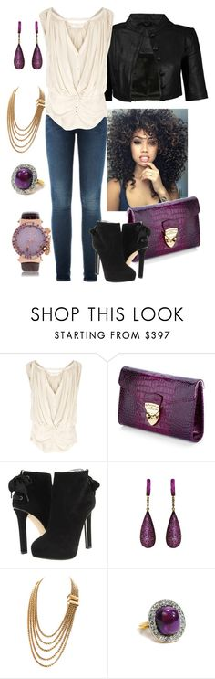 """Purple/Gold/Black"" by manda3482 ❤ liked on Polyvore featuring Vanessa Bruno, Aspinal of London, Dsquared2, Yves Saint Laurent and John Galliano"