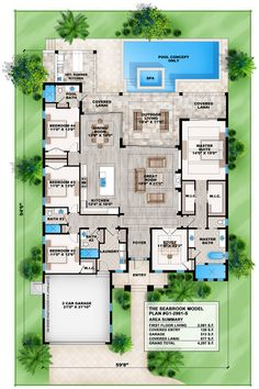 Seabrook Coastal Floor Plan This 1 story Seabrook coastal floor plan features 4 bedrooms, 4 baths and 2 car front entry garage. This house plan offers a w