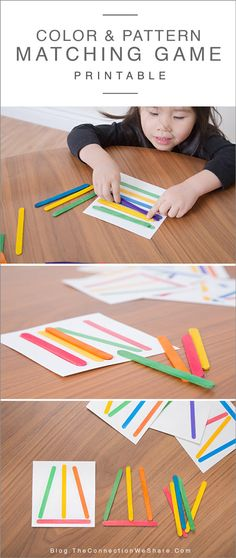 Color and pattern matching game for kids with FREE printable