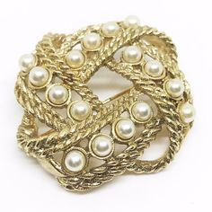 Gold and Pearl Brooch Woven Rope 1980s Vintage by CarolynsTreasure