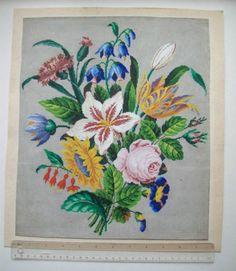 LARGE-ORIGINAL19th-CENTURY-BERLIN-WOOLWORK-PATTERN-SPRAY-OF-FLOWERS