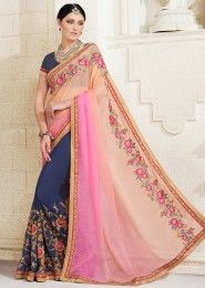 Party Wear Multi Colour Georgette Embroidered Work Saree