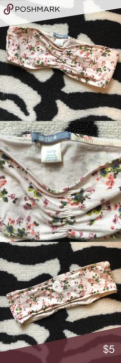 PLEASE BUNDLETeeny tiny bandeau  PLEASE BUNDLE TO PURCHASEXS bandeau bra from Aerie. Could probably be used as a headband as well as a bandeau for us small chested gals  very cute under a flowy top. In preloved condition with no stains or tears. 93% cotton; 7% spandex. aerie Intimates & Sleepwear Bras