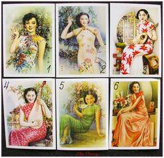 """Carte postale style rétro vintage asiatique women pin up """"modéle 1"""" x1 : Papeterie, carterie par lilycherry"""