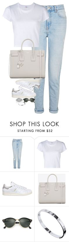 """Untitled #1220"" by lovetaytay ❤ liked on Polyvore featuring Topshop, RE/DONE, adidas, Yves Saint Laurent, Ray-Ban, Cartier and Rolex"