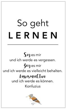 Nimm dein Kind an die Hand und lass es begeistert die Welt entdecken Learning could be so easy … Frustration-free learning anch Andre Stern means learning from enthusiasm. Learning what we burn for. (Outdoor, Home Schooling) Cute Text, Quotation Marks, Science Student, Home Schooling, True Words, Quotations, Thing 1, Homeschool, Sons