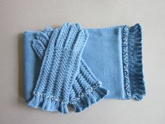 Blue Hand |Knit Gloves and Scarf with Seed Beads