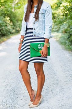 striped skirt and jean jacket