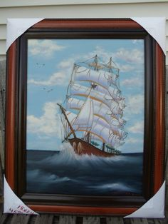 Sailboat Riding the Ocean Oil Painting 18 X 24 by LinsFinalTouch