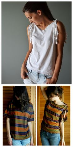 DIY No Sew Tee Shirt Sleeve Restyle