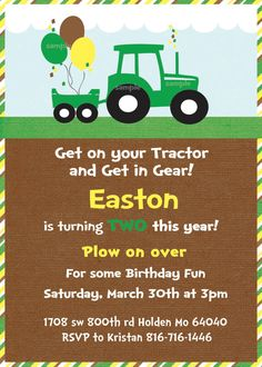 Green Tractor Birthday Party Invite and Thank you Cards- Printable Invitations John Deere Party Farm Birthday, 3rd Birthday Parties, Prince Birthday, Happy Birthday, Tractor Birthday Invitations, John Deere Party, Second Birthday Ideas, Parenting Plan, Parenting Books