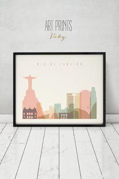 Río De Janeiro la impresión cartel arte de la por ArtPrintsVicky