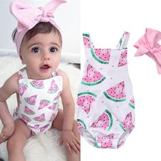 UK Stock Newborn Baby Girls Watermelon Romper Bodysuit Jumpsuit Outfits Sunsuit