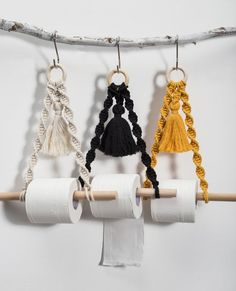 Macrame paper towel holder wall hanging Yellow black cotton toilet tissue paper roll holder P. - Macrame paper towel holder wall hanging Yellow black cotton toilet tissue paper roll holder Paper d - Paper Roll Holders, Paper Towel Holder, Towel Holders, Tissue Paper Roll, Boho Bathroom, Bathroom Black, Hipster Bathroom, Modern Bathroom, Small Bathroom