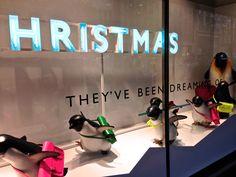 #Christmas windows 2014: John Lewis, Oxford Street. Little penguins being sent off to school! #MontyThePenguin  #visualmerchandising #VM