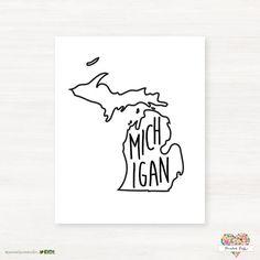 Michigan Typographic Print   Custom State Map Art by #PaintedPostStudio