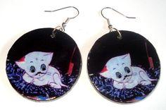 Decoupage - earrings, cat Filemon https://www.facebook.com/eliatelierdecou