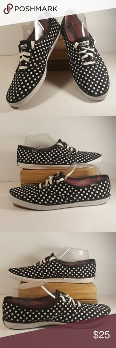 Keds Black Canvas Sneakers Women Sz 9.5 Up for your consideration is this cute pair of Keds black canvas sneakers with white polka dots pattern and white laces. Size 9.5 for women Very good used condition  Feel free to ask any questions  Please check my other items, I have more clothes and shoes for the whole family.  Thank you and have a great day. Keds Shoes Sneakers