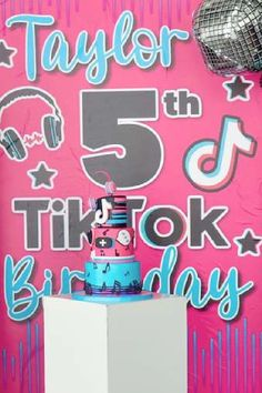 Don't miss this fab TikTok birthday party! The cake is a show-stopper! See more party ideas and share yours at CatchMyParty.com