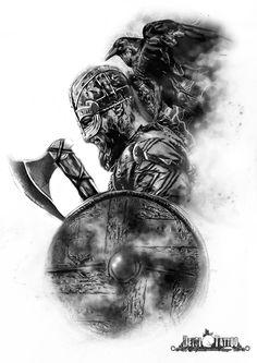 Vikingo con hacha en mano y escudo. Cuervo negro sobre la espalda del guerrero. #santcugat #deysitattoostudio #deysitattoo www.deysitattoo.com  citasdeysitattoo@gmail.com tlf: 639 327 919   #ideatattoo #ideastatuajes #tattoo @deysitattoo