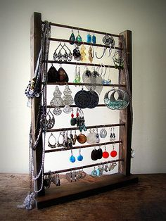 Handmade Rustic Wooden Earring Display Rack by naturallycre8tive