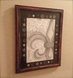 Handmade New Orleans Pictures Wall Decor Louisiana Art Print Drawings Distressed Frame Fleur De Leis Saints