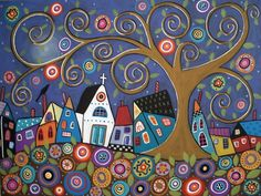 Swirl Tree Village by Karla Gerard