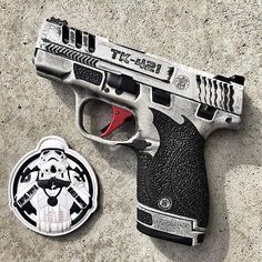 Imperial (mini) blaster -- photo courtesy of -- slide work by cerakote by laser engraving by & frame work done by -- Empire Poppin - Rebels Droppin Weapons Guns, Guns And Ammo, Glock Guns, S&w Shield, Custom Guns, Fire Powers, Cool Guns, 3d Max, Shotgun