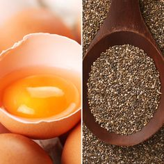 Substitute chia seeds for egg. Mix 1 tablespoon of chia seeds with 3 tablespoons of water until fluffy for each egg in your recipe. (My recipe called for two egg whites, I did chia & water. Healthy Cooking, Cooking Tips, Healthy Eating, Cooking Recipes, Healthy Life, Sante Bio, Chia Recipe, Food Substitutions, Chia Seeds