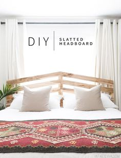 Make this fabulous $70 DIY Slatted Headboard!   DIY Headboard Ideas   Boho Bedroom Decor   Vintage Revivals