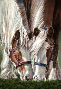 Lunch Date horse pastel portrait