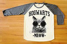 Hogwarts Cat Glasses Shirt Hogwarts TShirt Cat TShirt by catarocx, $18.00   I NEED THIS.