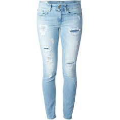 Dondup Skinny Jeans With Distressed Effects ($163) ❤ liked on Polyvore featuring jeans, pants, bottoms, calças, pantalones, blue, ripped skinny jeans, distressed jeans, destructed skinny jeans and destroyed denim skinny jeans