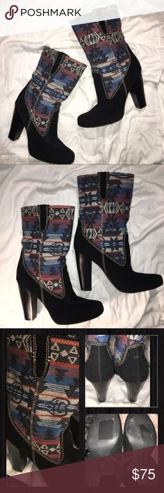 """MIA Aztec print boots 🌵🌵MIA • black suede w/cream colored stitching • 8.5"""" printed fabric shaft. 4.5"""" heel. Very comfortable boot. Never been worn. EXCELLENT NEW CONDITION 🌵🌵 MIA Shoes Heeled Boots"""